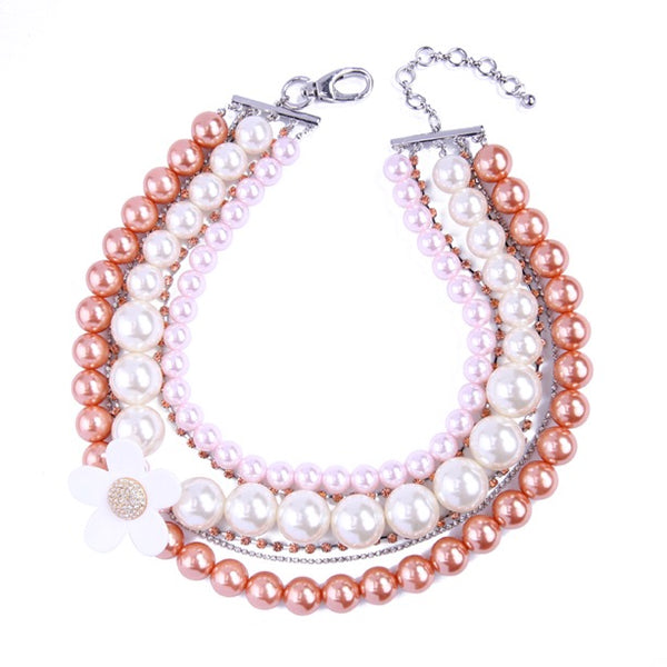 Luxe Statements Pink Layered Pearl Necklace On White Background