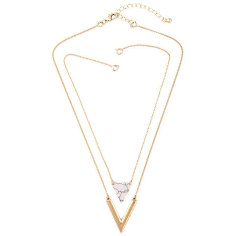 White Layered Triangle Necklace