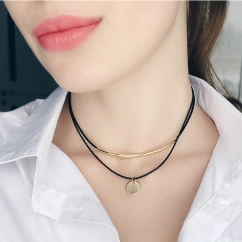 Leather Coin Choker