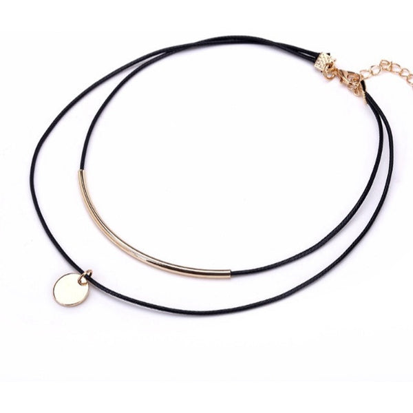 Leather Coin Choker - Luxe Statements