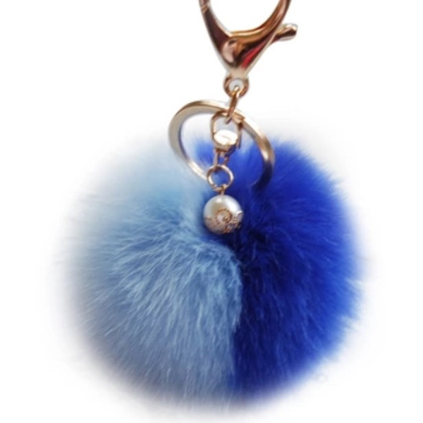 Blue and Light Blue Pom Pom Keychain