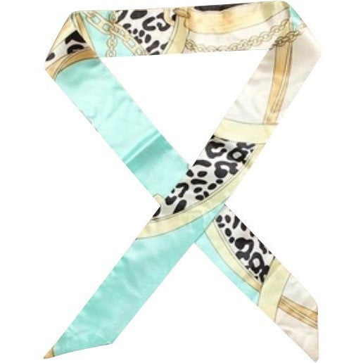 Teal Cheetah Print Twilly Scarf