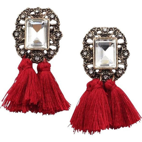 Luxe Statements Red Tassel Earrings with Crystal gem.