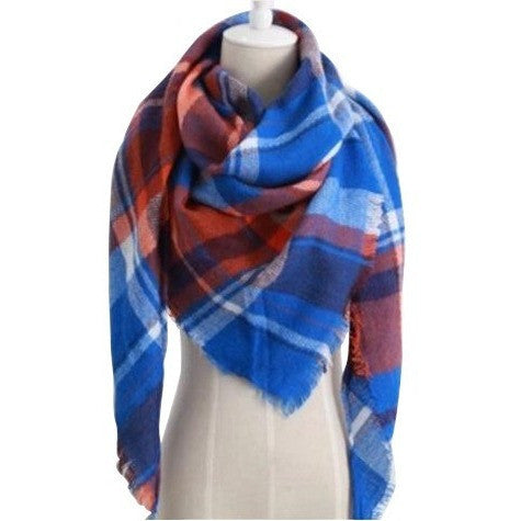 Dark Blue Plaid Triangular Scarf