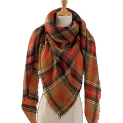 Brown Orange Plaid Triangle Scarf - Luxe Statements