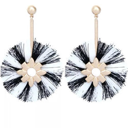 White and black round tassel earrings