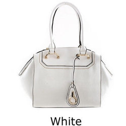 WHITE ANGULAR DESIGN BAG WITH MOVABLE HANDLE - Luxe Statements