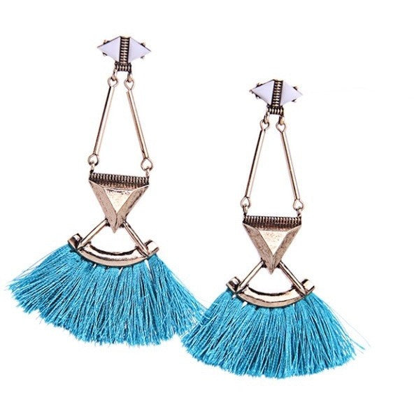 Blue Tassel Earrings - Luxe Statements