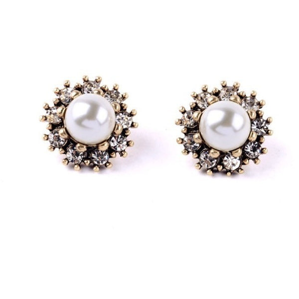 Flower Pearl Studs from Luxe Statements on white background
