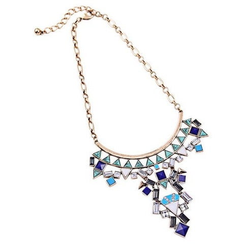 Blue Chandelier Statement Necklace