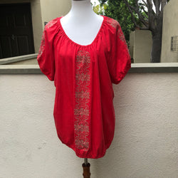 Faded Glory Coral Top with Tan Embroidery Size XXXL - Luxe Statements