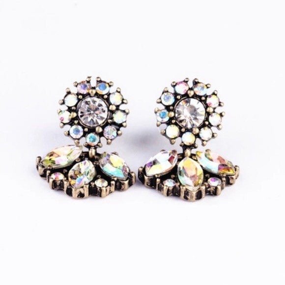 Crystal Flower Statement Earrings - Luxe Statements