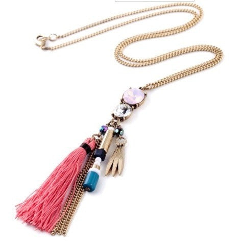 Pink Tassel Necklace - Luxe Statements