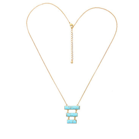 Luxe Statements Blue Stone Pendant Necklace