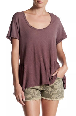 Current Elliot The Girlie Tee w Peplum in Aurora Red Size Medium - Luxe Statements