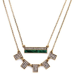 Layered Eva Necklace close up of green rectangular bar and second necklace with five small crystal filled rectangles.