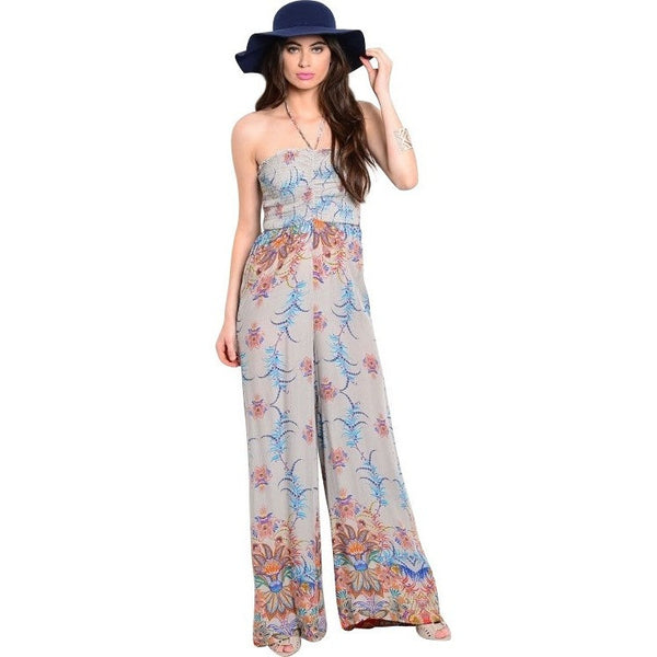 Luxe Statements Gray Orange Floral Romper with Black hat.