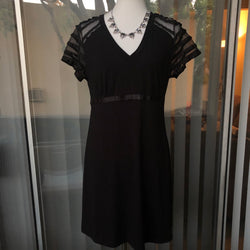 NWT DKNY Black Dress with Laced Sleeves Size Medium - Luxe Statements
