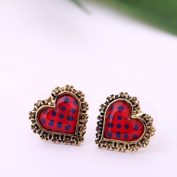 Red Heart Shaped Stud Earrings - Luxe Statements