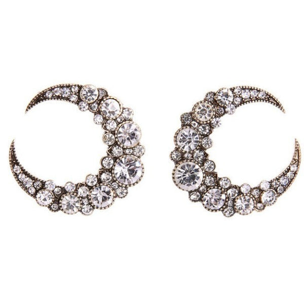 Crystal Moon Earrings - Luxe Statements