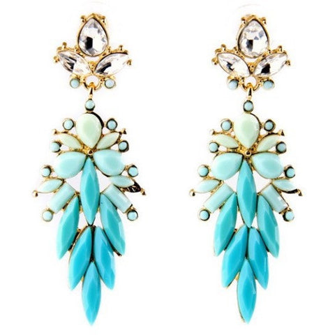 Aqua Long Statement Earrings - Luxe Statements