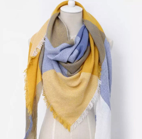 (NEW) Light Blue & Yellow Triangle Scarf - Luxe Statements