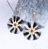 (NEW) White & Black Round Tassel Earrings - Luxe Statements