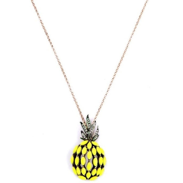 Pineapple Charm Long Necklace - Luxe Statements