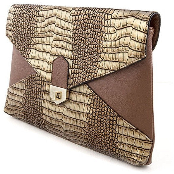 ANIMAL SKIN TEXTURED CLUTCH SHOULDER BAG - Luxe Statements