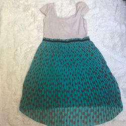 Xhilaration Teal with Brown Dots Dress Size Large - Luxe Statements