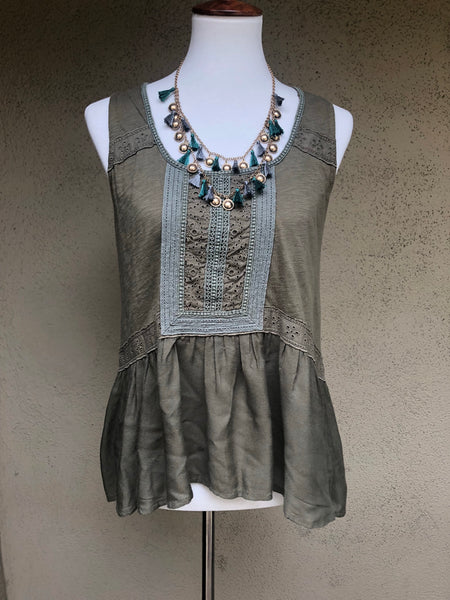 Meadow Rue as sold in Anthropologie Army Green Eyelet Blouse Size Small - Luxe Statements