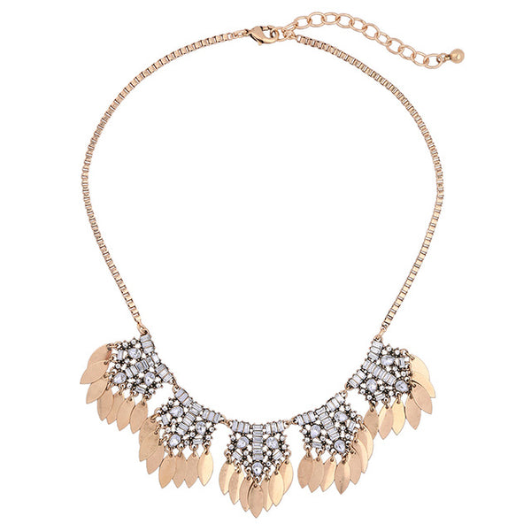 Crystal Gold Leaf Necklace - Luxe Statements