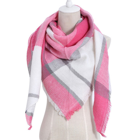 (NEW) Hot Pink & White Triangle Scarf - Luxe Statements