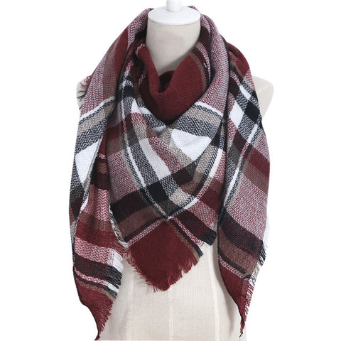 (NEW) Burgundy Plaid Triangle Scarf - Luxe Statements