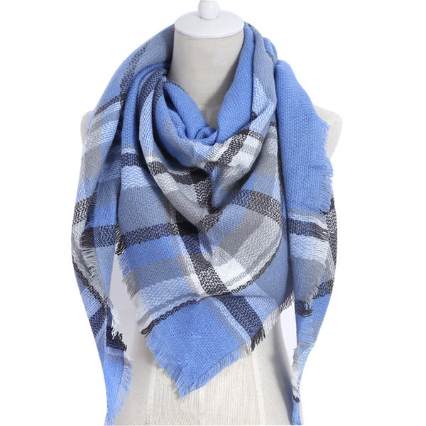 Light Blue Plaid Triangle Scarf - Luxe Statements