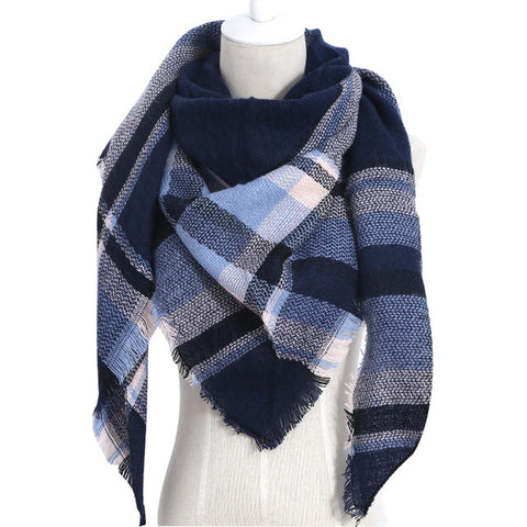 (NEW) Navy Blue Plaid Triangle Scarf - Luxe Statements