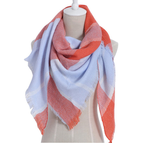 (NEW) Orange & Blue Triangle Scarf - Luxe Statements