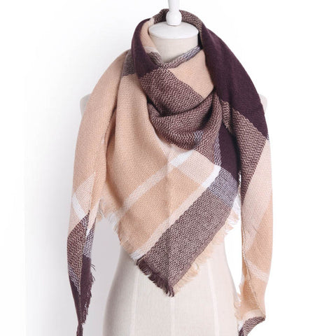 (NEW) Tan Brown Triangle Scarf - Luxe Statements