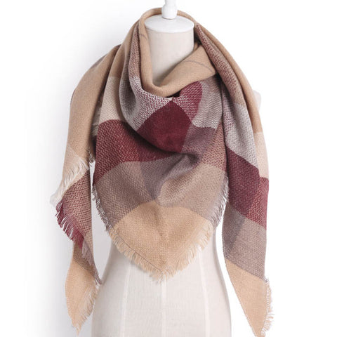 (NEW) Coffee Brown Triangle Scarf - Luxe Statements