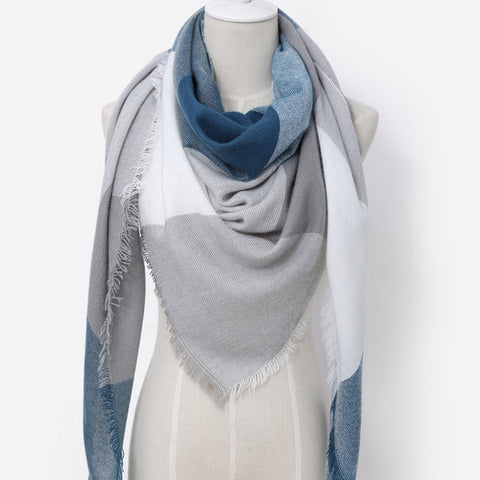 (NEW) Grey White & Blue Triangle Scarf - Luxe Statements