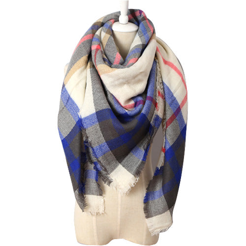 (NEW) Blue Black & White Plaid Triangle Scarf - Luxe Statements