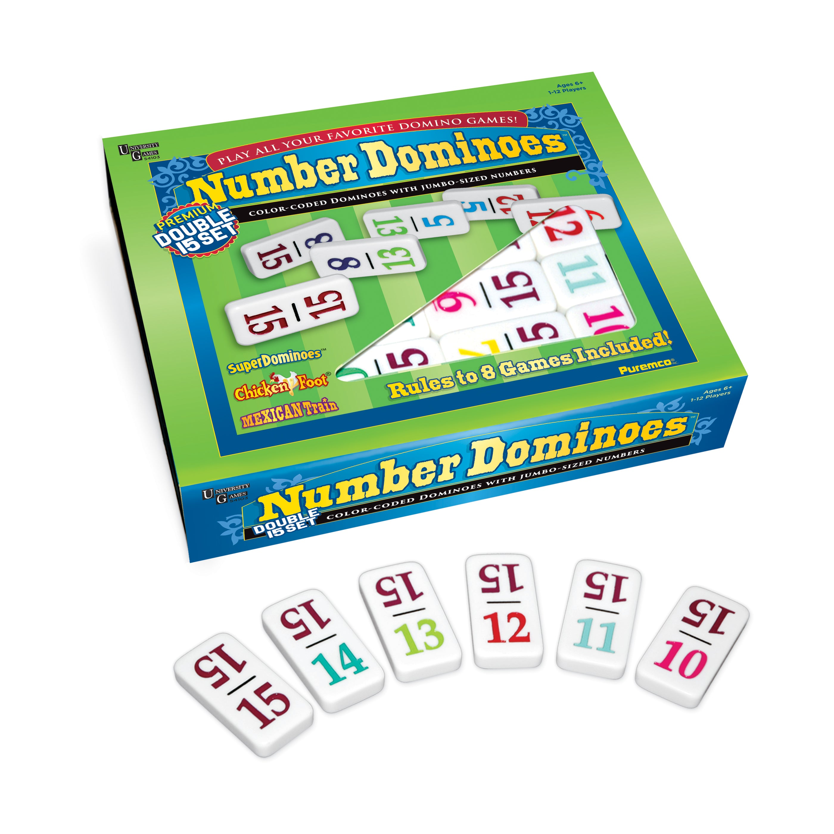 Double 15 Number Dominoes