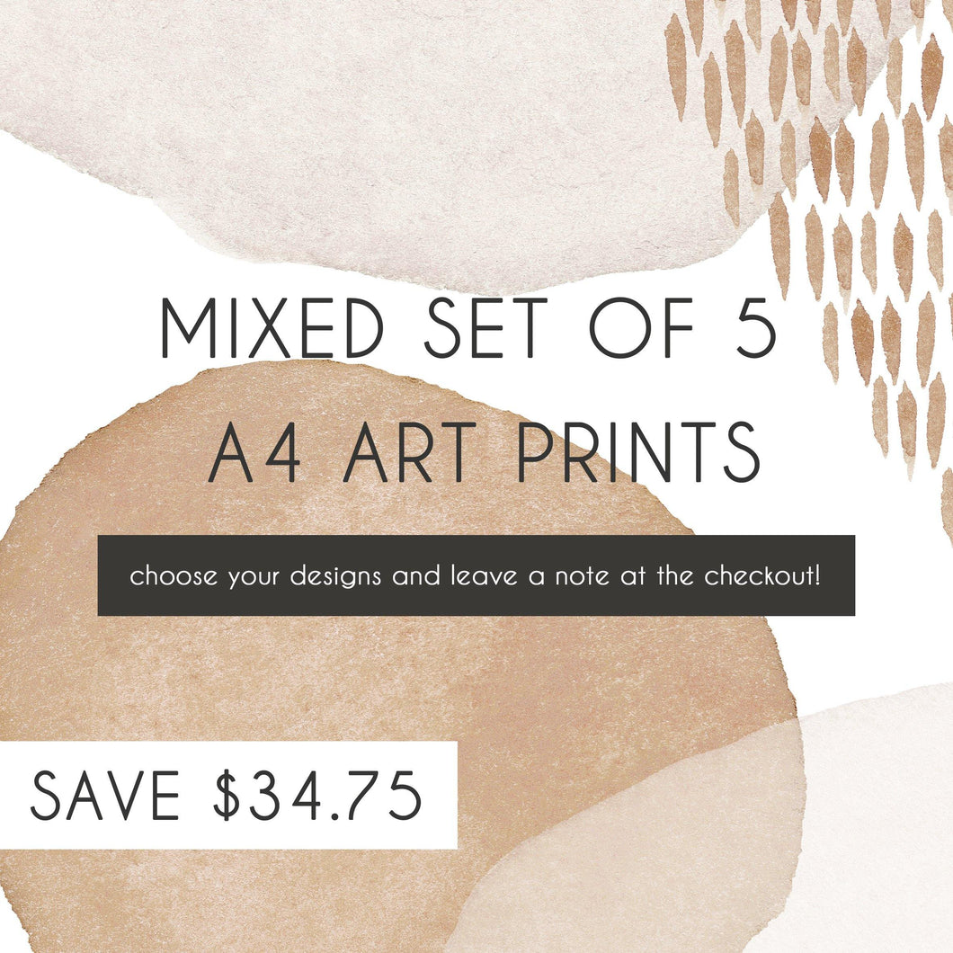 Mixed Set of 5 A4 Art Prints - Misiu Papier