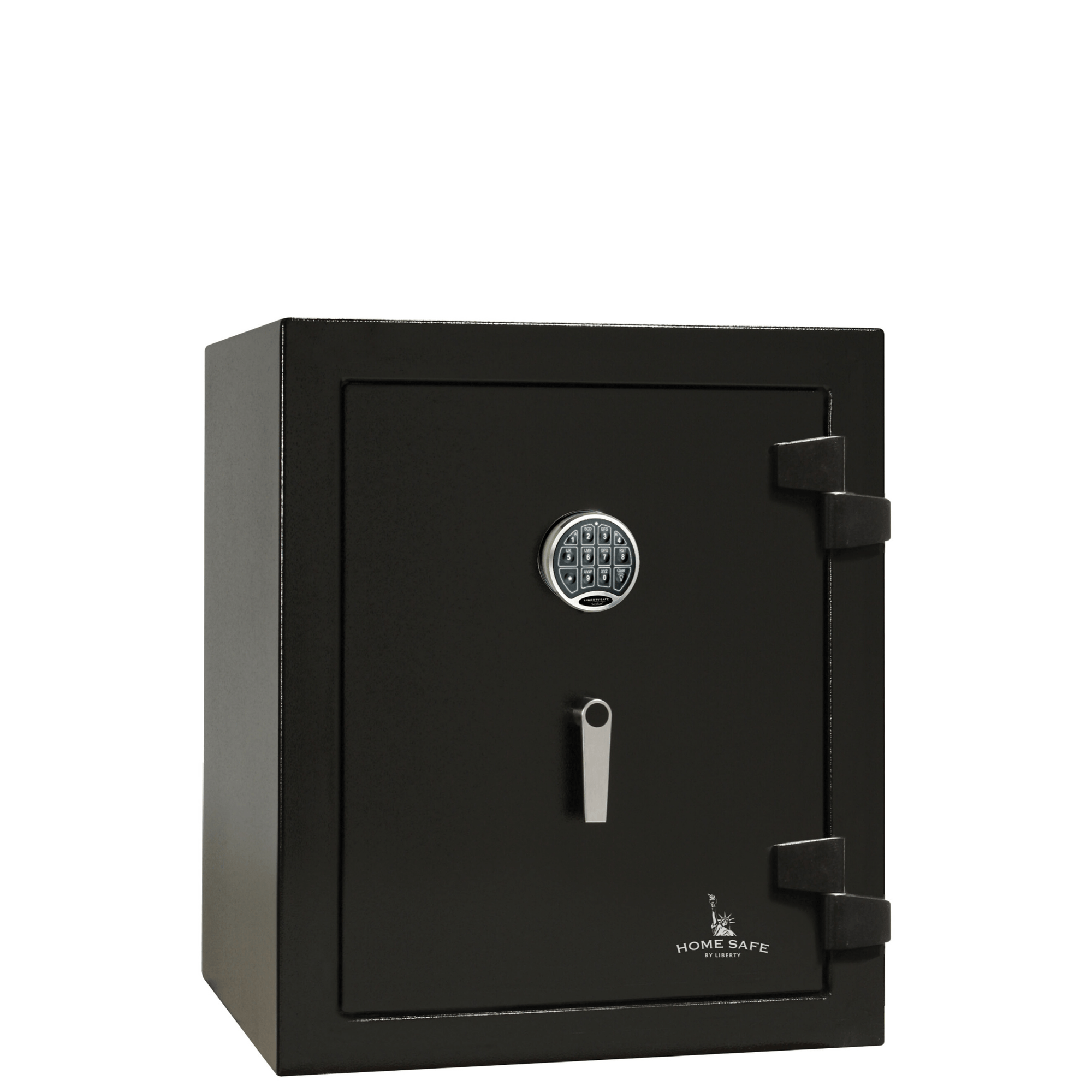 "Home Safe | 08 | 60 Minute Fire Protection | Black | Electronic Lock | Dimensions: 30""(H) x 24.25""(W) x 22""(D)."