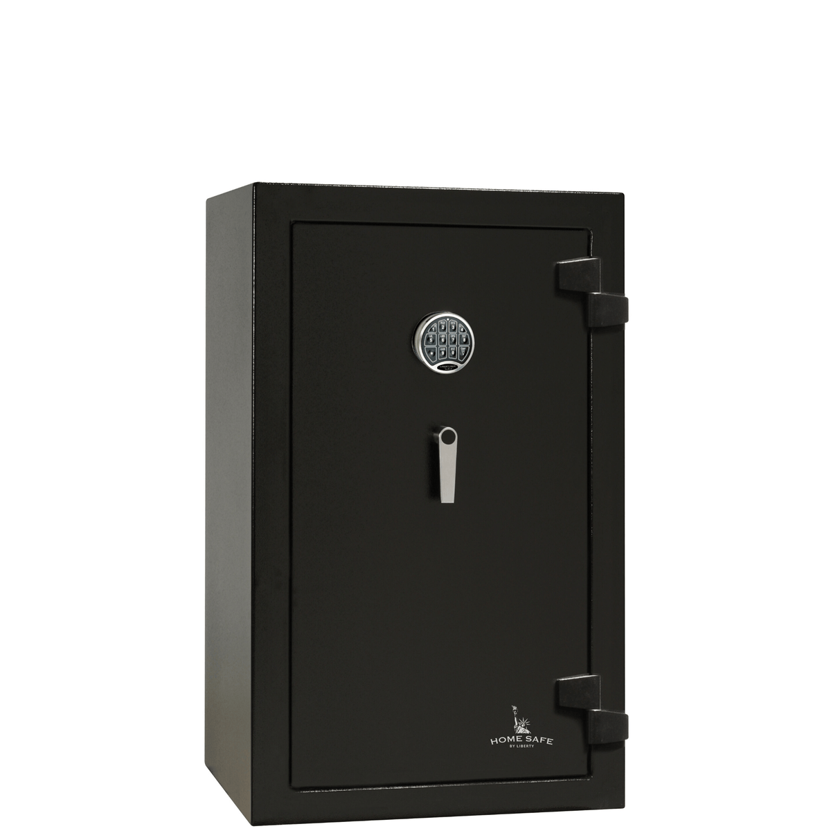"Home Safe | 12 | 60 Minute Fire Protection | Black | Electronic Lock | Dimensions: 42""(H) x 24.25""(W) x 22""(D)."
