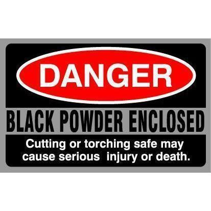 Accessory - Security - Sticker - Danger Black Powder Enclosed - Single.