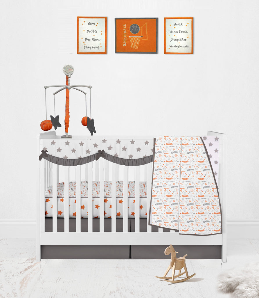 Bacati - Bacati Breathable Muslin Basketball Orange Grey Collection