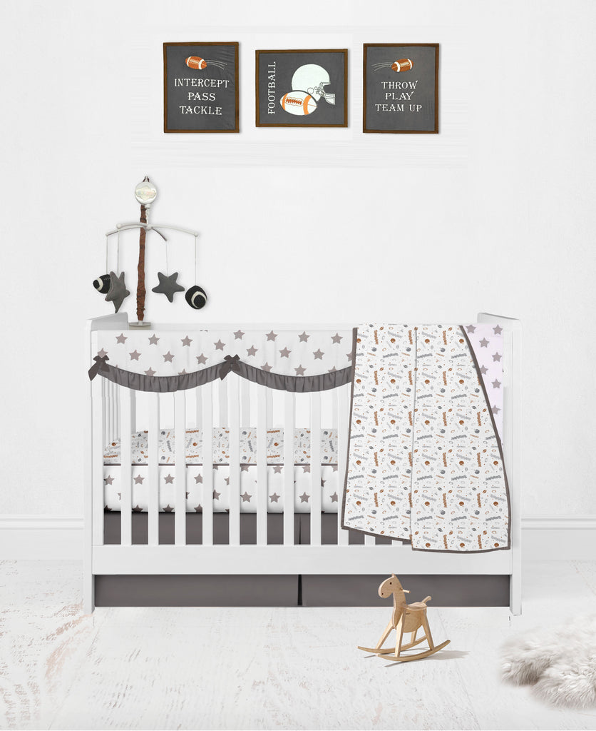 Bacati Breathable Muslin Football Brown Grey Crib Toddler Bedding Collection