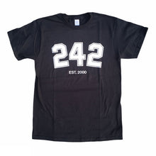 "Load image into Gallery viewer, 242 ""Varsity Kids"" Tee // Black/White/Silver"