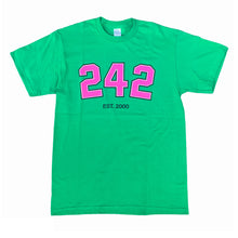 "Load image into Gallery viewer, 242 ""Varsity"" Tee // Green/Pink/Black"